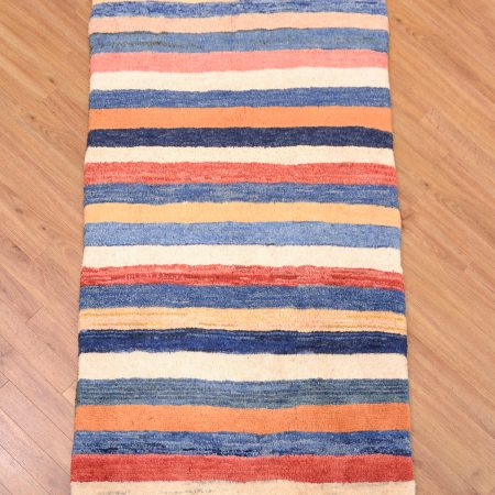 Handmade Persian Modern Gabbeh Runner / Mossul Rug with hand-knotted thick wool pile and stylish design of stripes.