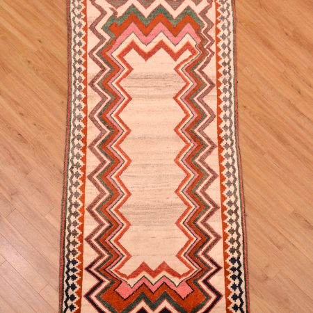 Old Persian Gabbeh Mossul Rug with natural colour field and zig-zag inset border.