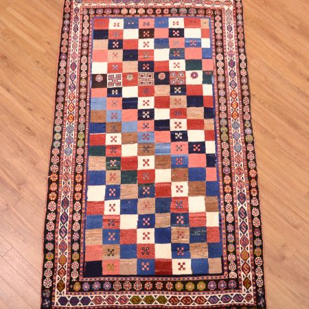 Stylish traditional handmade Persian Chequerboard Gabbeh Rug with vibrant multi-colour design.