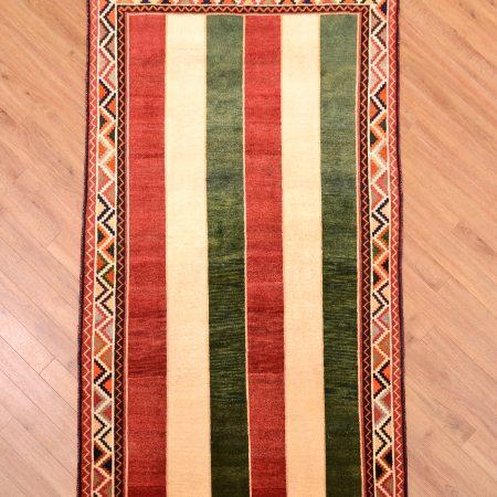 Handmade Persian Gabbeh Mossul Rug with stripe design.