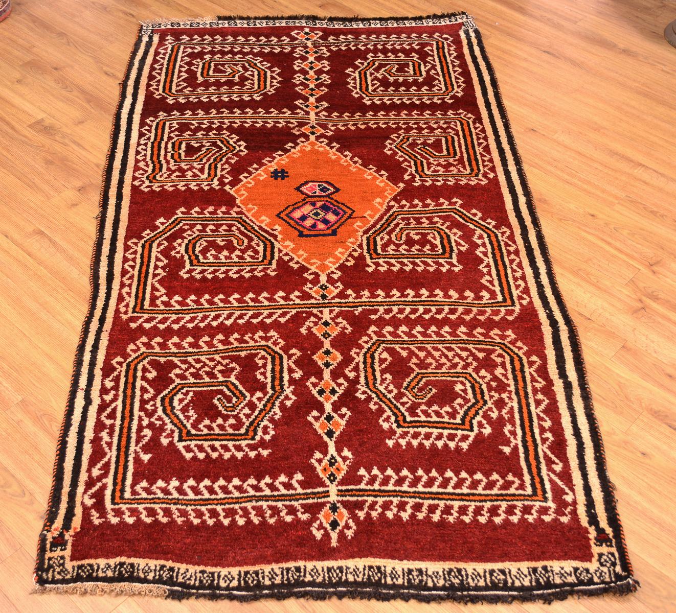 Shop Oriental Persian Gabbeh Shades Of Orange Hand Knotted: Rustic Handmade Persian Gabbeh Tribal Rug