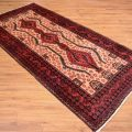 Great value handmade traditional Persian Mashad Belouch Mossul Rug with beige background with red.