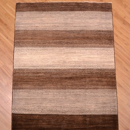 Contemporary design Afghan Rug handmade with design of stripes.