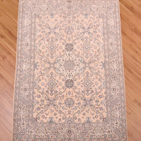 Extra Fine Persian Nain Rug wool on silk with 3 colours of silk design signed by Mortazavi.