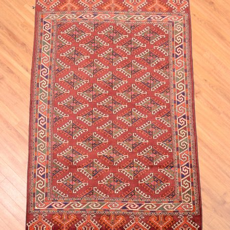 "Handmade Turkoman Yamoud Rug with ll-over design of ""dyrnak"" guls – an emblem of the Yamoud tribe."
