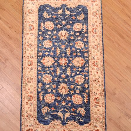 Bue ground hand-knotted Afghan Ziegler Mossul Rug.