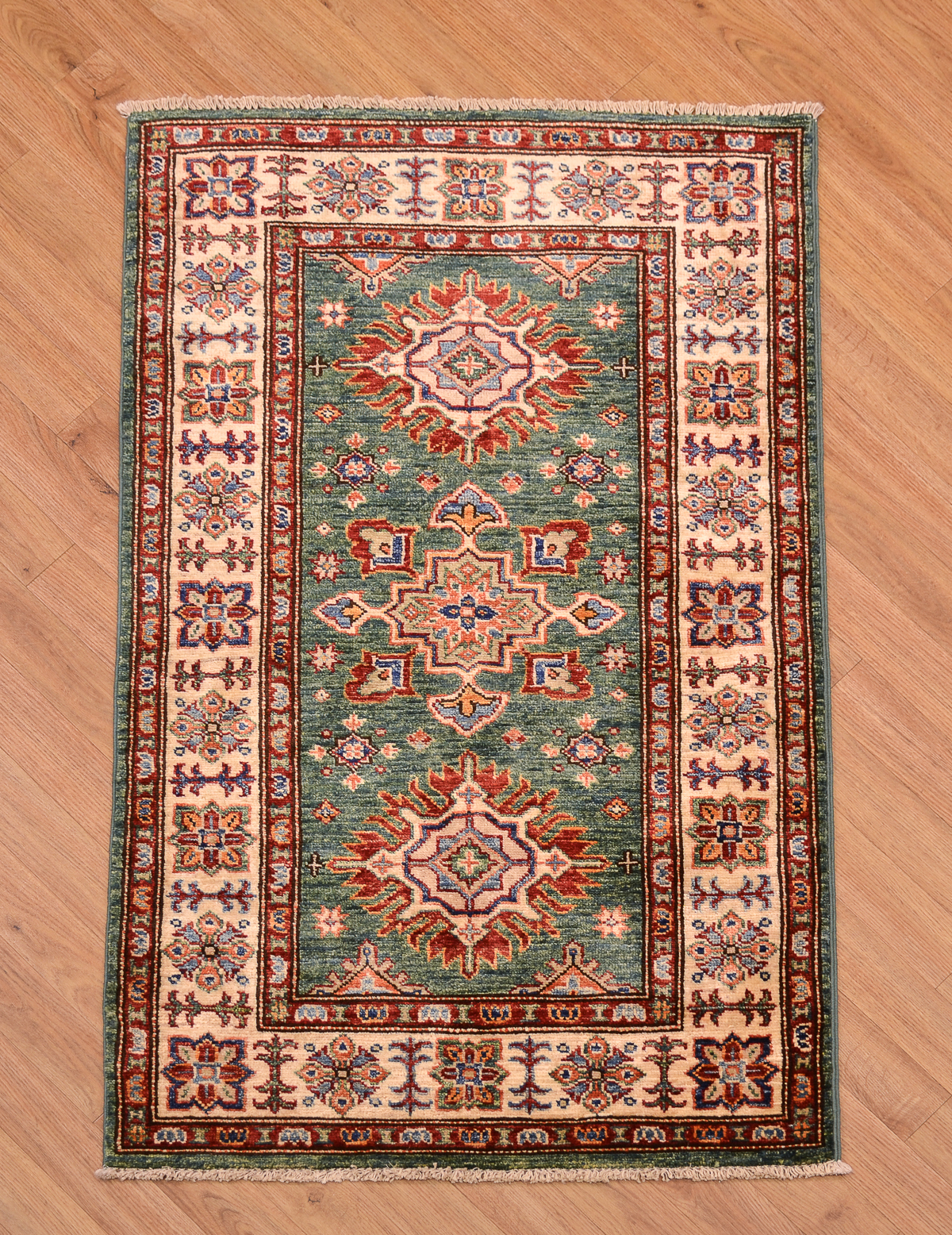 Fine Handmade Afghan Green Kazak Rug The Oriental Rug