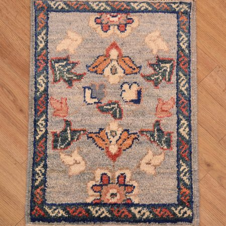 Hand-knotted Afghan Chubi Mat with attractive grey-blue colour scheme.