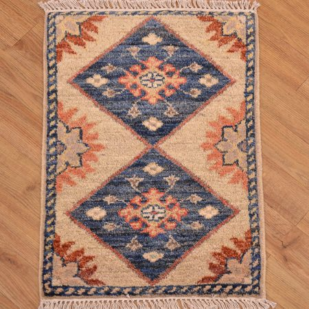 Handmade Afghan Chubi Mat with two medallion design.