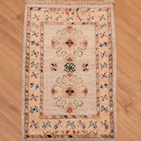 Two medallion design hand-knotted Afghan Chubi Mat.