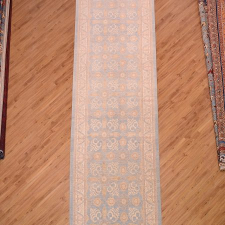 Handmade Large Fine Afghan Ferahan Runner of light blue with beige colour scheme and all-over floral pattern.