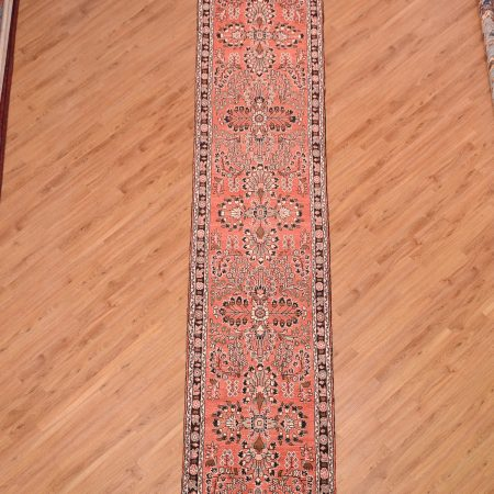 Wonderful extra long Persian Hamadan Runner probably Mehribhan with delightful terracotta colour and traditional floral pattern.