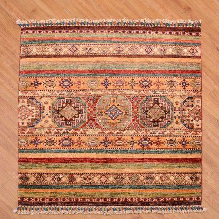 Stylish Fine Afghan Khorjin Square Rug with theme of multi-colour stripes based on ancient tribal saddle bag motifs.