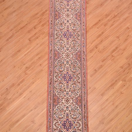 Handmade & hand-knotted Fine Mehribhan Runner (Persian) of cream ground and traditional floral pattern.