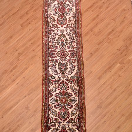 Amazing value extra Long Mehribhan Runner (Persian) of classic floral design on a cream background.