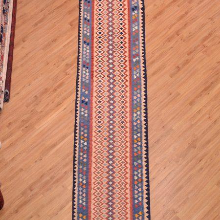 Jazzy multi-colour Extra Long Persian Qashqai Kilim Runner, handmade and flat-woven.