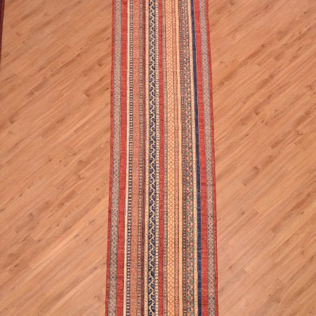 4 meter long Afghan Shaal Runner handmade with stylish all-over multi-colour striped pattern.
