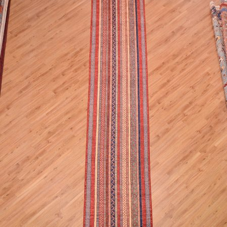 Extra long Afghan Shaal Runner handmade with stylish all-over multi-colour striped pattern.