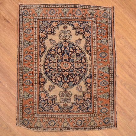 Early Twentieth Century Persian Antique Tabriz Mat with medallion design.