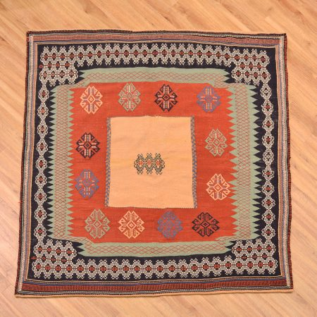 Eye-catching hand-woven square size Persian Afshar Sofreh Rug.
