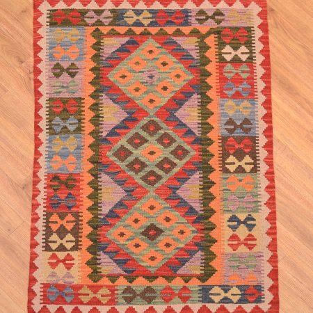 Handwoven Afghan Veg Dye Kilim Rug with bright multi-colour 3 medallion design.