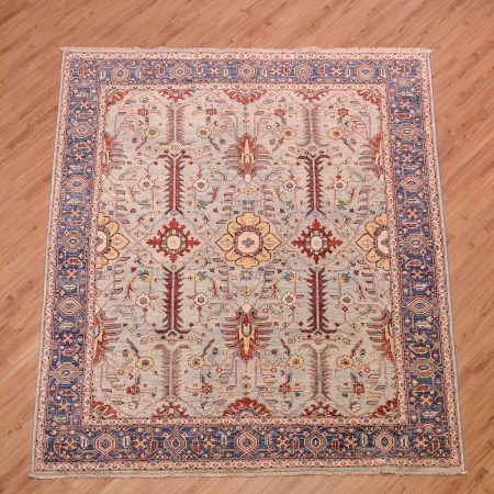Impressive handmade Afghan Fine Aryana Carpet with all over Persian design in an attractive colour of pale blue.