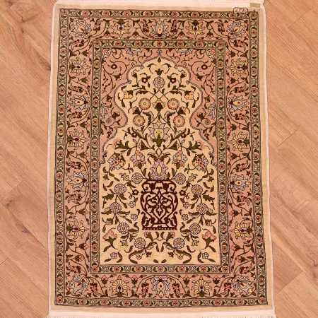 Incredibly silk-on-silk fine handknotted Turkish Silk Hereke Mat with Mihrab design and beige field.