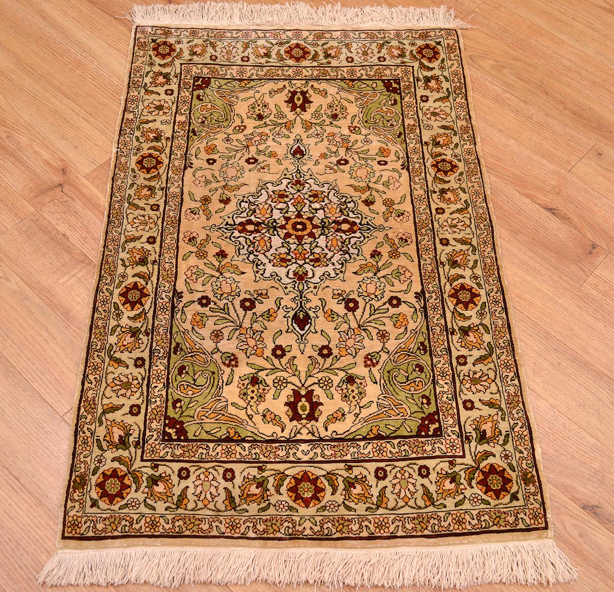 Turkish Hereke Silk With Metal Thread Mat The Oriental