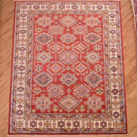 Handmade all over design red Afghan Fine Kazak Carpet.