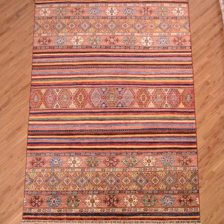 Multi-colour handmade Afghan Fine Khorjin Carpet with imaginative theme of stripes.
