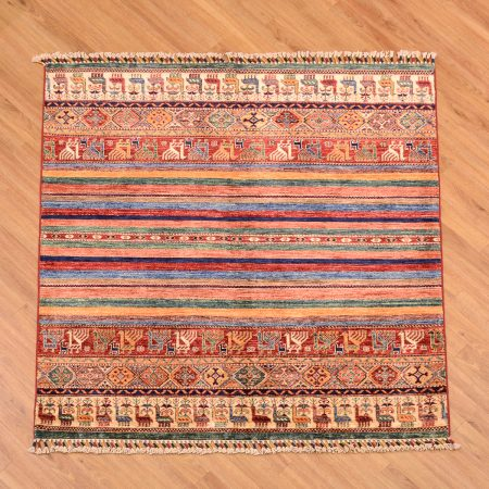 Stunning handmade fine Afghan Khorjin Square Rug with vibrant multi-colour theme of stripes and various interesting animal motifs.