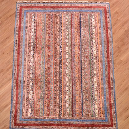 Handmade modern Afghan Shaal Carpet with mulitcolour striped moharammat pattern.