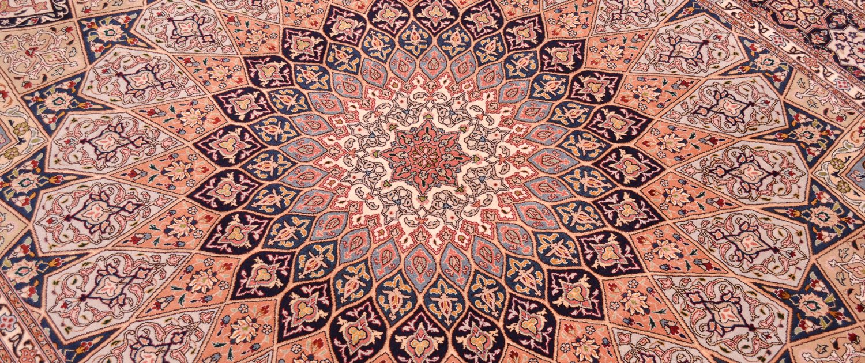 Persian Fine Tabriz Part Silk Carpet with dome design.