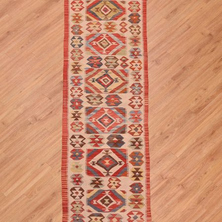 Handwoven flat weave Veg Dye Afghan Kelim Runner of narrow width and panel design.