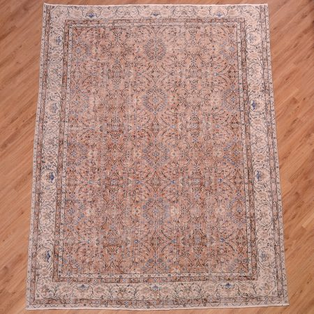 Handmade Vintage Turkish Carpet with all over floral Kayseri pattern.