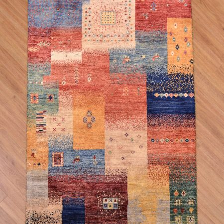 Funky handmade modern Afghan Aryana-Loribaft Rug with multi-colour panel puzzle design.