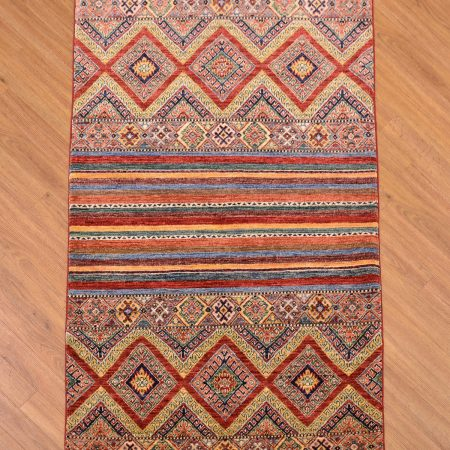 Handmade modern Afghan Fine Khorjin Rug based on a saddle bag pattern.