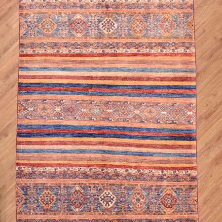 Eye-catching, one-of-a-kind handmade Afghan Fine Khorjin Rug with funky multi-colour striped design.