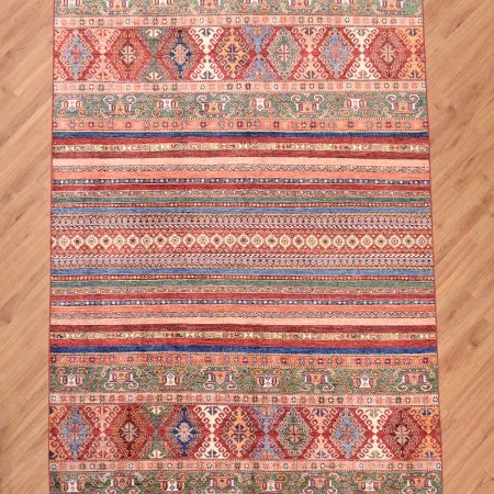 Funky handmade multi-colour Afghan Fine Khorjin Rug with design of stripes.