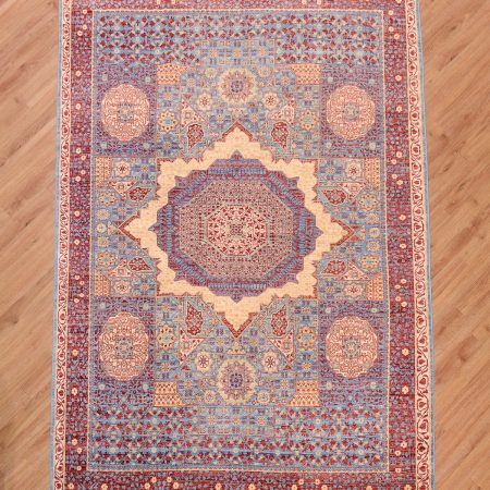 Stunning handmade Afghan Fine Mamluk Rug with ancient geometric medallion design.