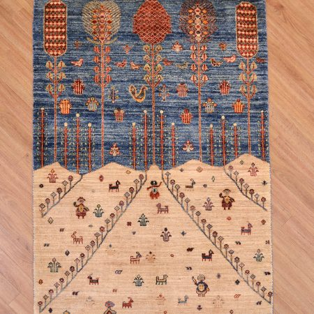 Cool modern handmade Afghan Pictorial Aryana-Loribaft Rug with charming mountain scene perhaps depicting the Hindu Kush mountains.
