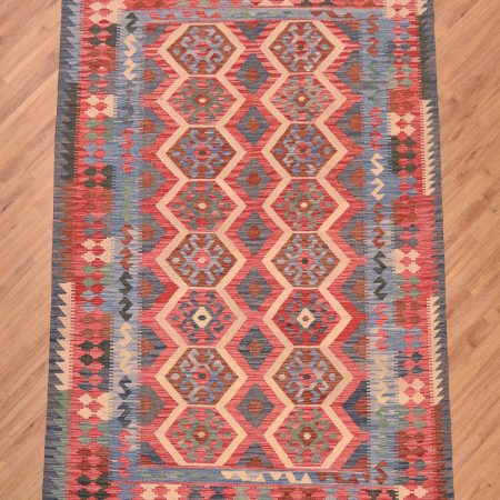 Handwoven Afghan Veg Dye Kilim Rug with multi-colour all over design of 16 guls.