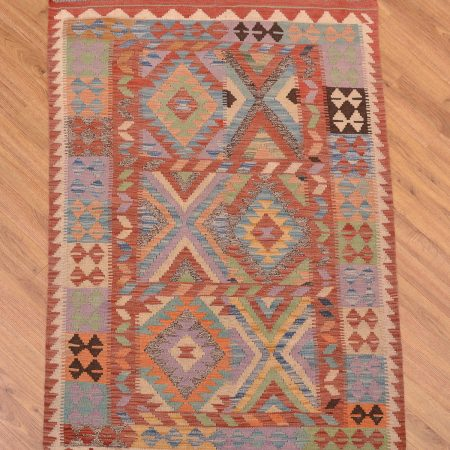 Handwoven Afghan Veg Dye Kelim Rug with all over panel design.