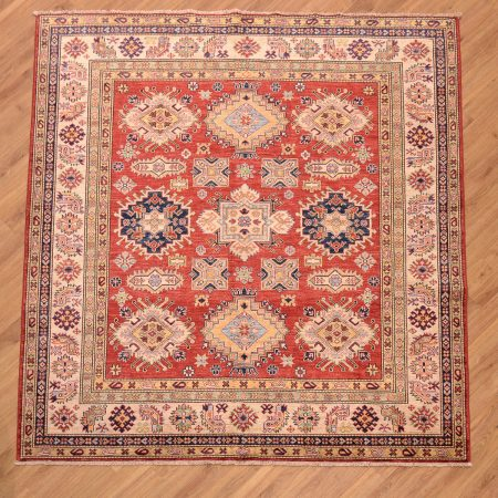 Fine handmade/handknotted Afghan Kazak Square Rug with all over pattern of 9 geometric motifs on a red/terracotta field.