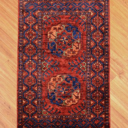 Handmade traditional Afghan Ersari Small Rug of rich colours and classic two gul design.