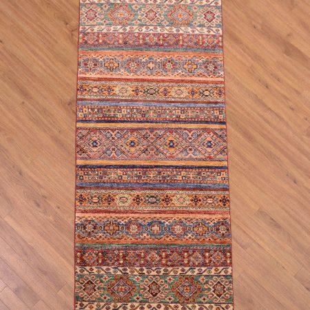 Funky modern Afghan Fine Khorjin Runner with striking multi-colour theme and all over design of stripes.