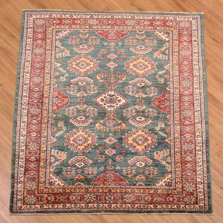 Handmade Afghan Fine Kazak Square Rug with green main colour and an all over design.