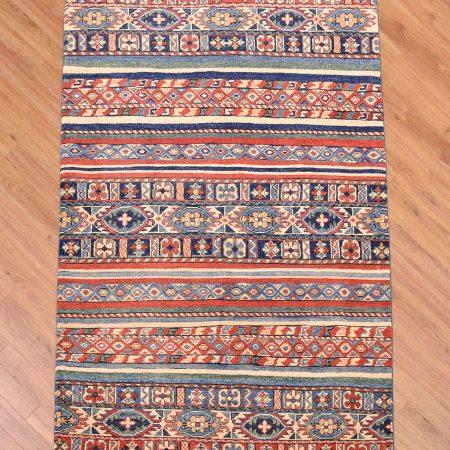 Eye-catching handmade Afghan Kazak Rug Khorjin design with theme of stripes inspired by saddle bag patterns.