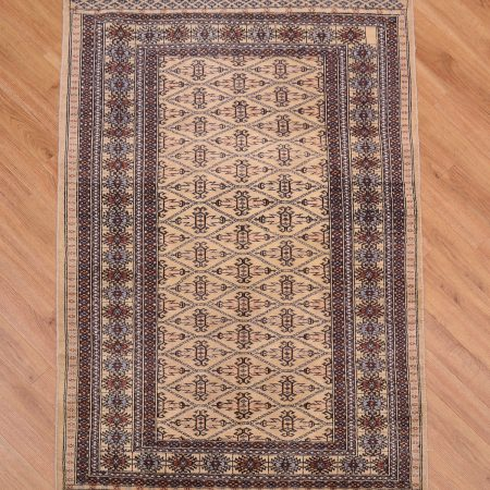 Handknotted Pakistan Jaldar Rug with traditional all over design of guls.