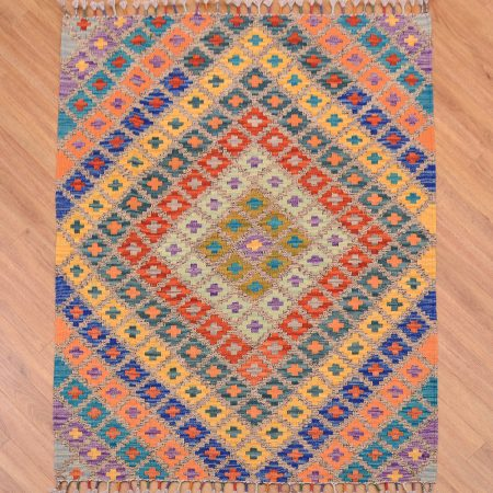 Breathtaking handwoven Afghan Maimanna Kilim Rug with funky multi-colour design.